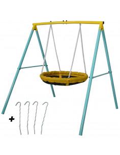 Balancoire Enfant Tiny Swing - Portique Balancoire nid d oiseau - 2 Enfants à la fois - Poids Max 90 kgs - Idéal petits jardins